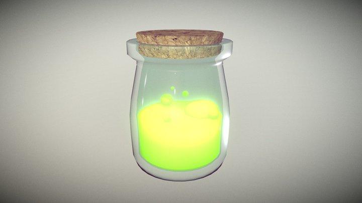 Lowpoly Glass Bottle with Cork #1 3D Model