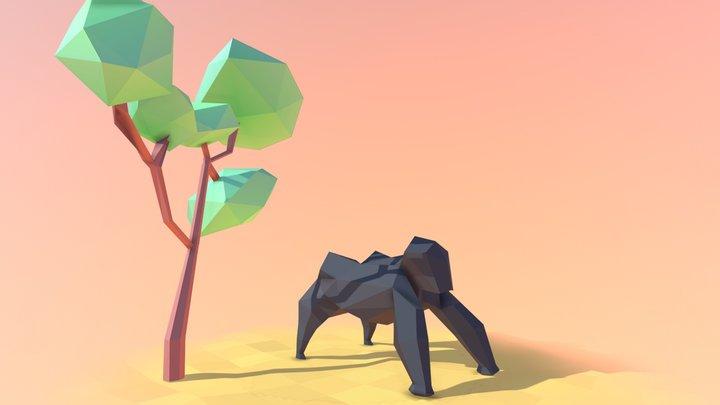 Low Poly Gorilla 3D Model