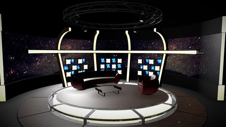 Virtual TV Studio Chat Set 20 3D Model