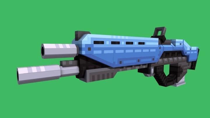 Cyberpunk Assualt Rifle - Blockbench 3D Model