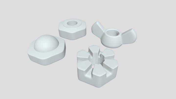 3D Nuts - Bash Mesh 3D Model