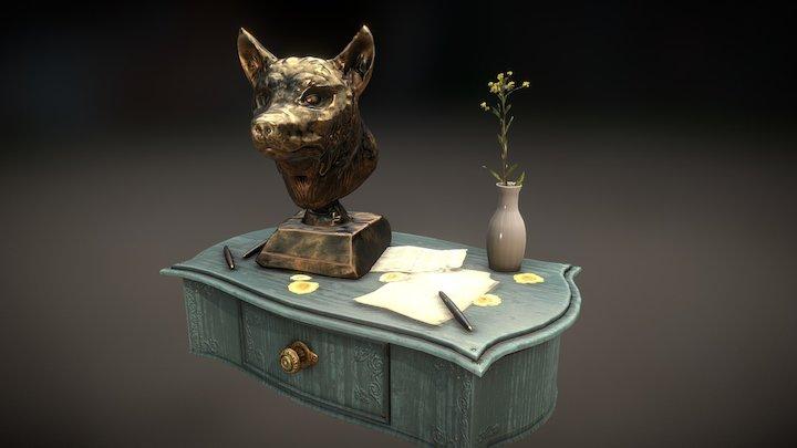 Wolf Head Statuine 3D Model