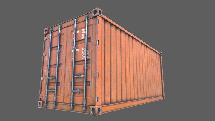 Cargo Container Orange PBR 3D Model