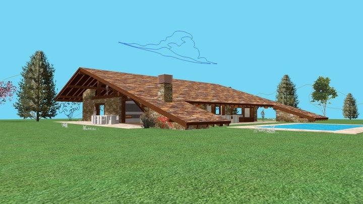La casa del tejado hasta el suelo en Fontenebro. 3D Model