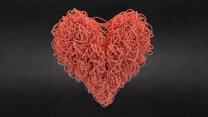 Heart made of strings 3D Model