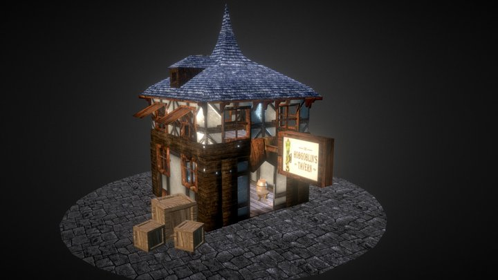 Medieval house with interior 3D Model