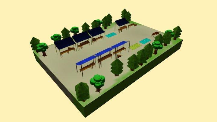 Market Low Poly 3D Model