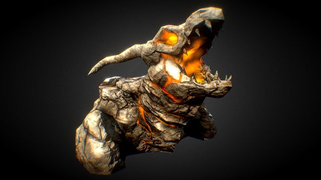 Craggy Rock Dragon 3D Model