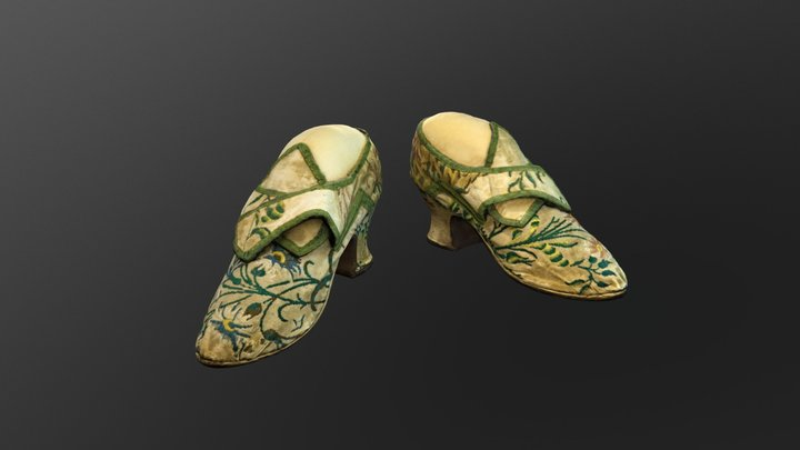 1730s Ladies Embroidered Shoes 3D Model