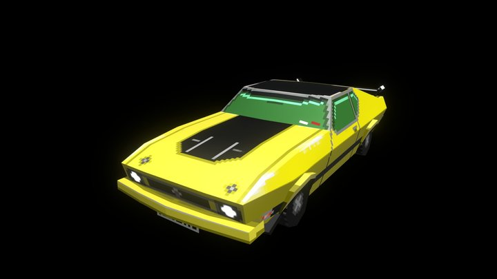 Low Poly Pixel Art Muscle Car 3D Model