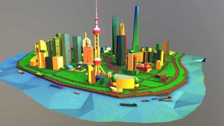 LowPoly Cartoon Shanghai 3D Model