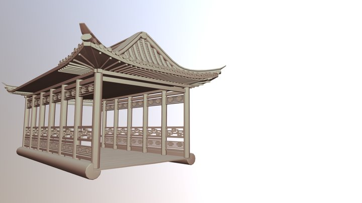 Asian-style Chinese Bridge 3D Model