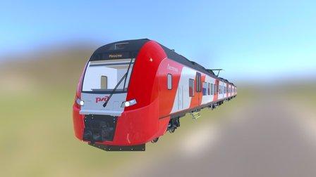 Electric Train Siemens Desiro Rus Lastochka 3D Model