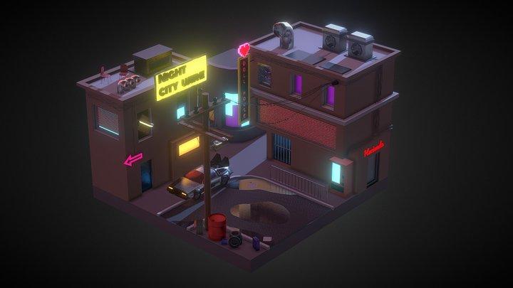 Diorama of cyberpunk city. 3D Model