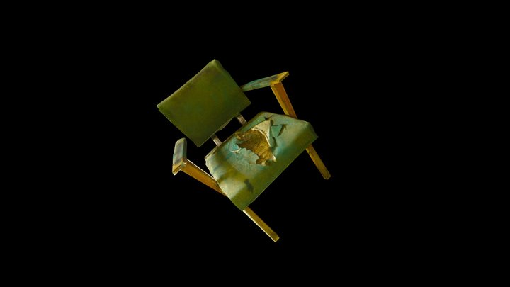 Ruined Green Chair 3D Model