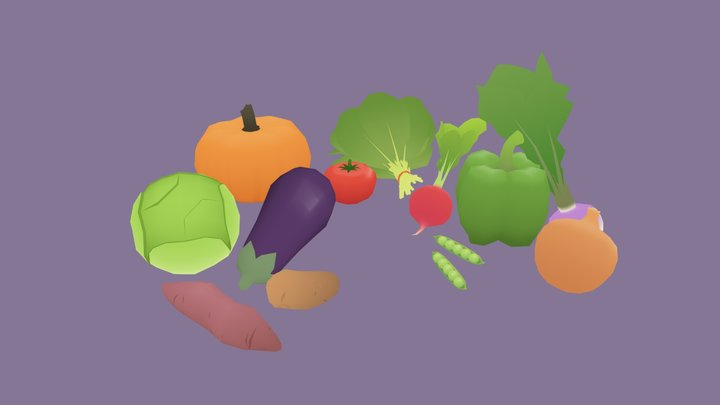 Low Poly Vegetables 3D Model