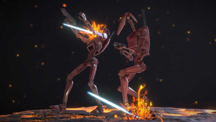 Trade Federation Droid Army 3D Model