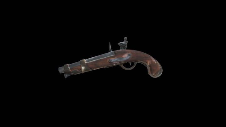 18th Century Pistol Replica 3D Model