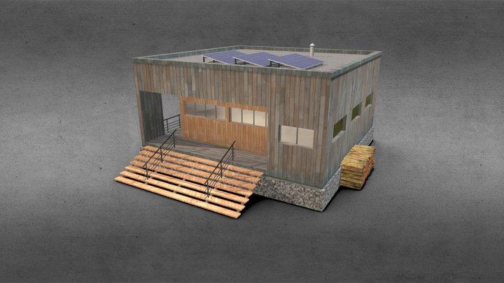 Cubic Wood House 3D Model