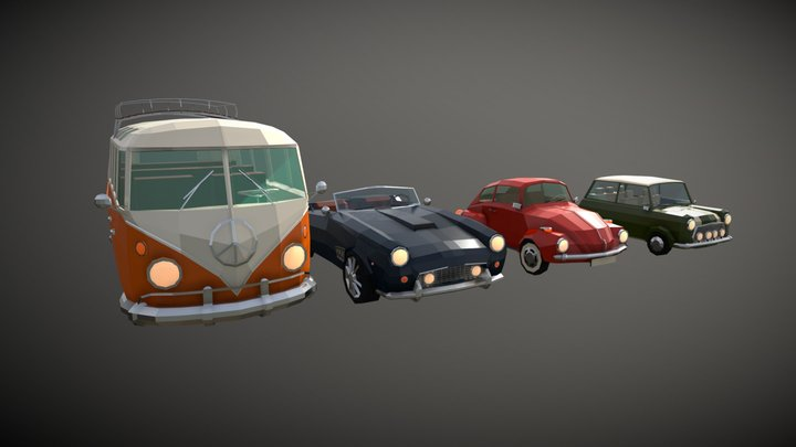 Low Poly Classic Car Pack 3D Model