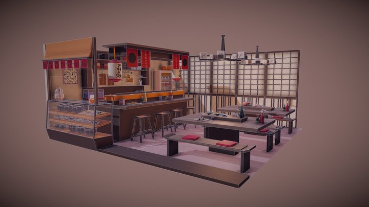 Traditional Japanese Restaurant 3D Model