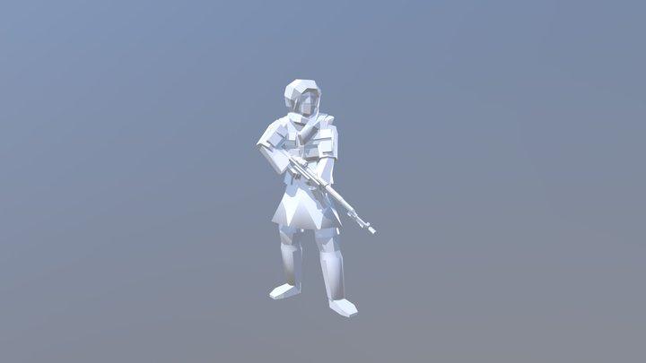 Low Poly AK47 3D Model