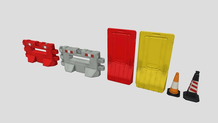 Barricade Set A - Low Poly 3D Model 3D Model