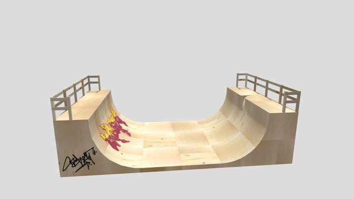 Halfpipe Textured 3D Model