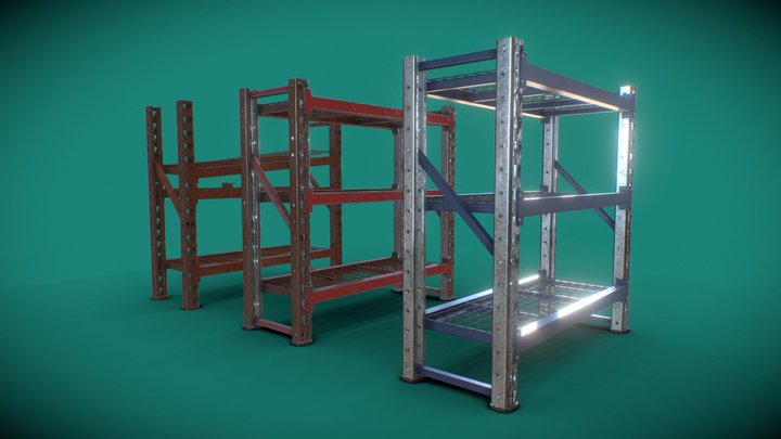 Industrial Shelving - Short 3D Model