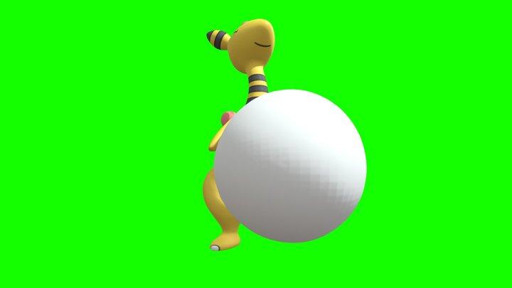 Ampharos Big Belly Drumming 3D Model