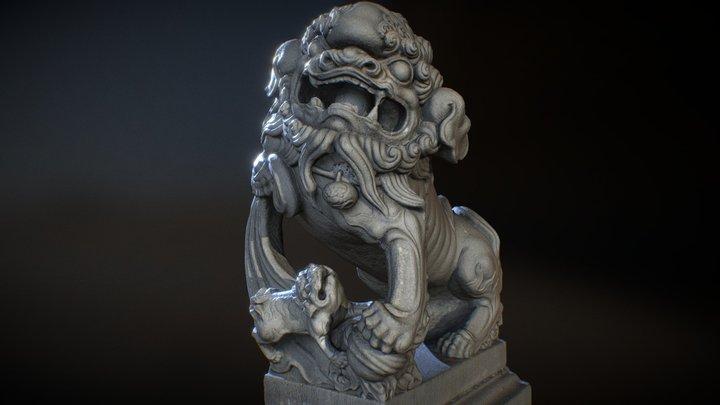 Lion-statue-007F 南庄小南埔崇聖宮 3D Model