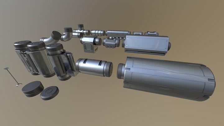 Sci-fi Cyberpunk Pipe Set 3D Model