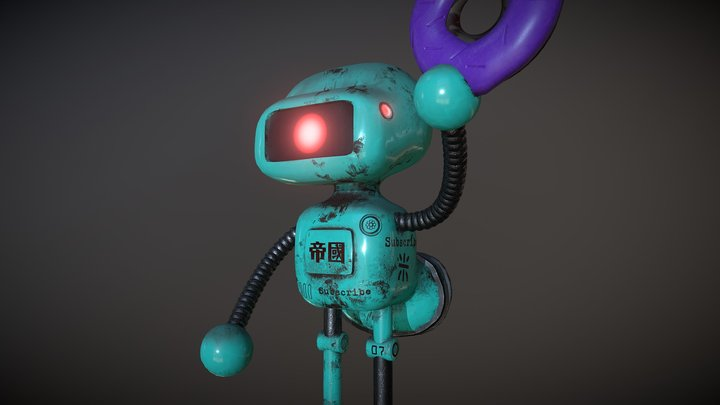 Robot with a donut for SP tutorial 3D Model
