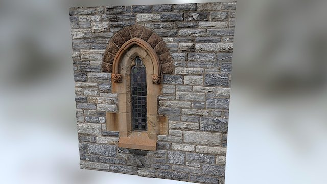 Stained Glass Window. Church Elevation. 3D Model