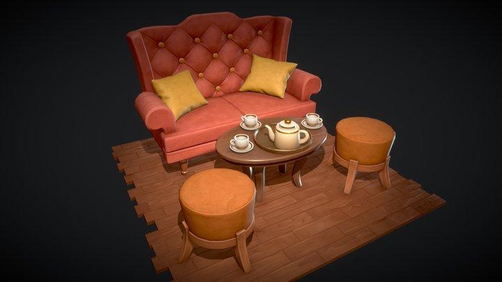Lowpoly Furniture Set 3D Model