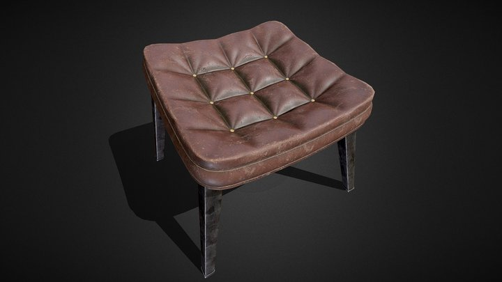Old leather chair (PBR GR) 3D Model