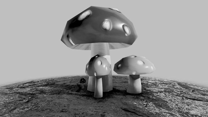 Mushrooms - Inktober 3D Model