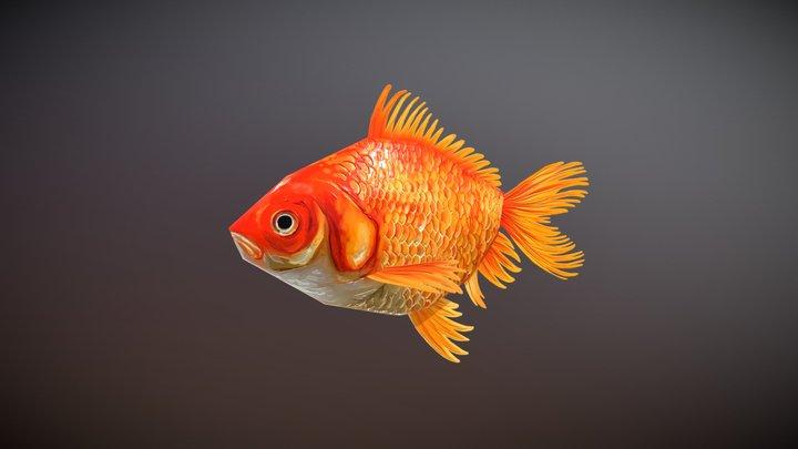 Handpainted Goldfish 3D Model