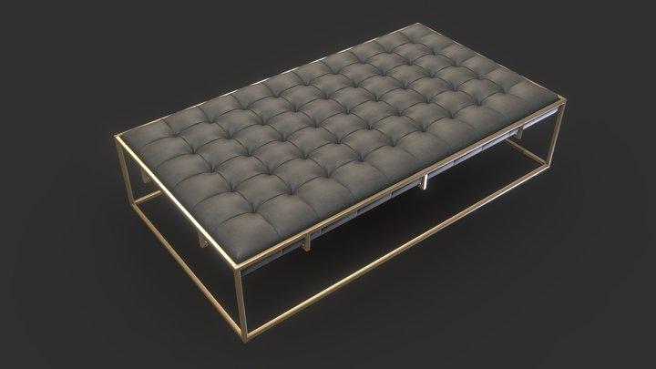 Ottilie Ottoman - Brass & Leather 3D Model