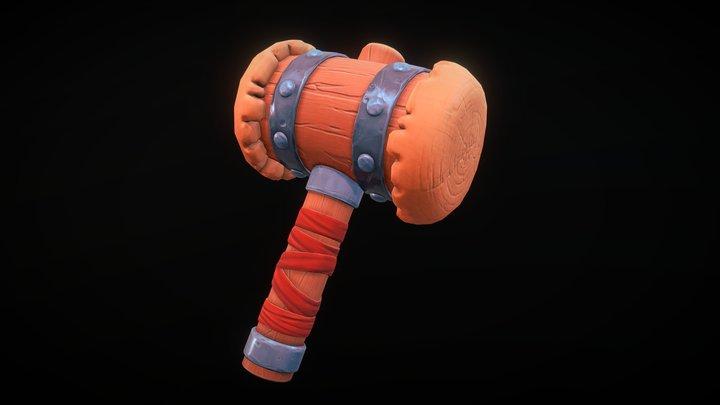 Wooden Hammer - Game Ready 3D Model