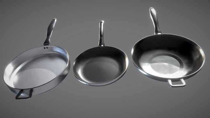 Set of Pans - Frying, Saute, Wok Low-poly Model 3D Model