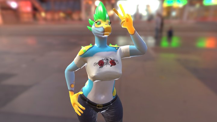Anthro Gecko Dragon 3D Model