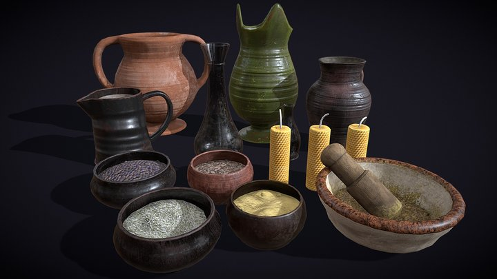 Herbs Bowls 3D Model