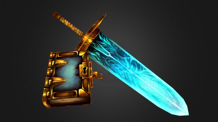 Low Poly Magic Sword and Book 3D Model