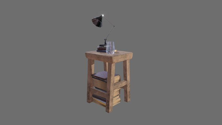 Side Table with Books 3D Model