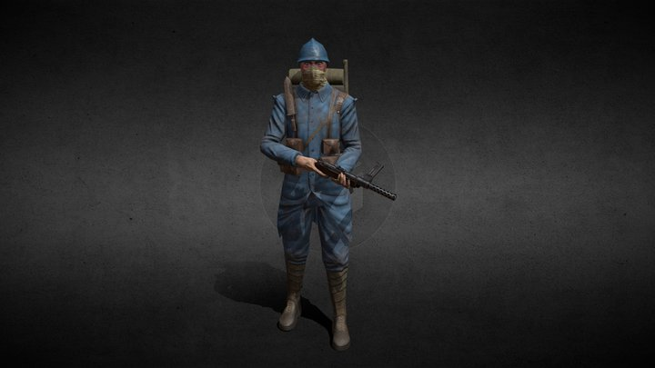 french soldier, attack aircraft 3D Model