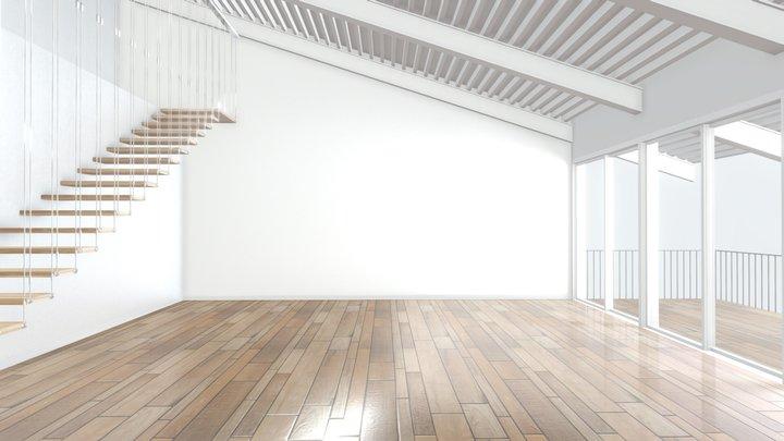 VR Staircase Art Gallery Scene 01 3D Model