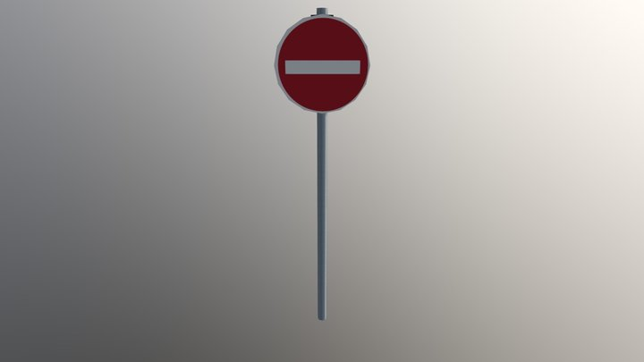 Roadsign Prohibitory No Entry 3D Model