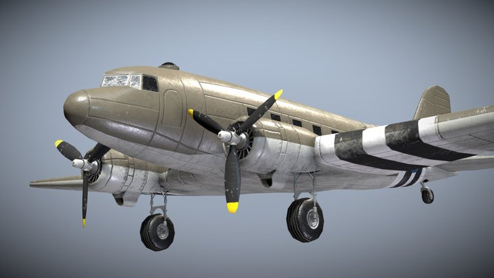 WW2 US Military Transport Aircraft C-47 Skytrain 3D Model