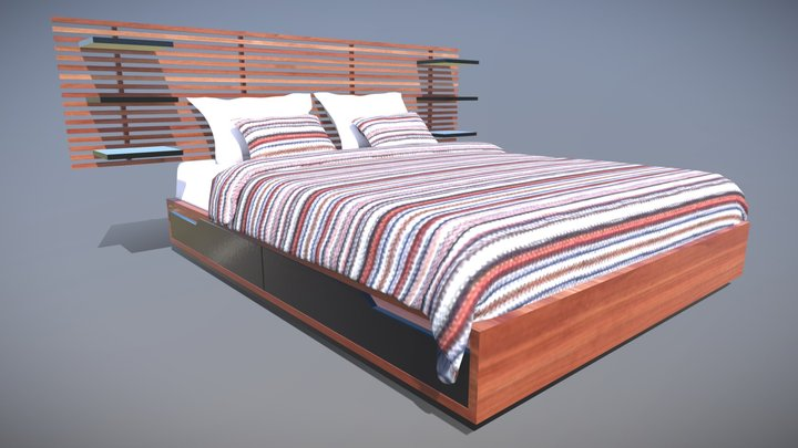 Ikea Mandal Bed VR AR Low Poly 3D Model